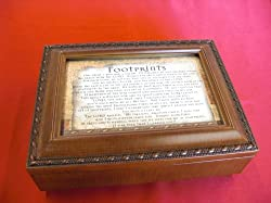 Cottage Garden Footprints Religious Woodgrain Keepsake Music Jewelry Box Plays Friend In Jesus