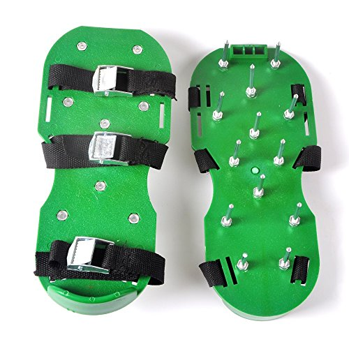 Lawn Aerator Shoes, Spiked Aeration Sandals with Heavy Duty Core and 3 Adjustable Straps and Buckles, Best Aerating Shoes for a Greener and Revitalized Yard, Free Wrench Included