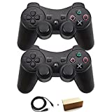Molgegk Wireless Bluetooth Controller For PS3 Double Shock - Bundled with USB charge cord (Black and Black) (Color: Black and Black)