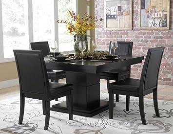 Homelegance Cicero 5 Piece Square Pedestal Dining Room Set in Black