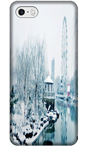Phones Accessories Beautiful White Snow Tree Vellege Design Cases For Iphone 5/5S # 18 front-742893