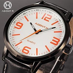 : Pretty Birdy Luxury Stainless Steel White Orange Round Dial Relogio