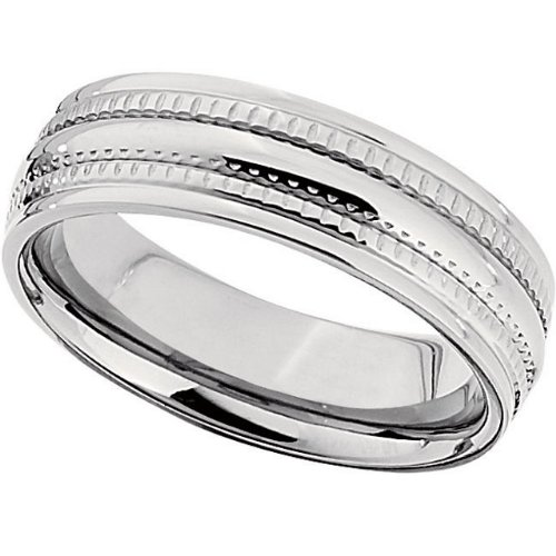 6.0mm Titanium Triple Grooved Domed Band Size 8