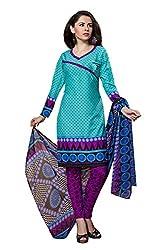 Variation Women's Blue Crepe Unstiched Dress Material (VD14428)