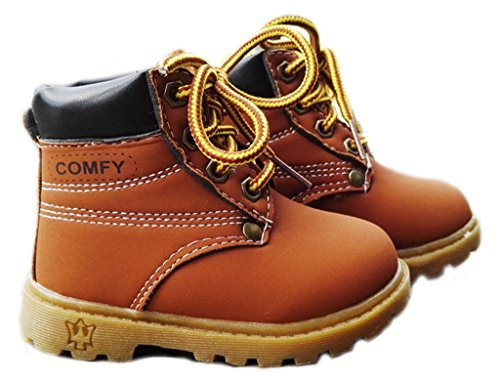 Comfortgo Baby Kids Classic Waterproof Boots Girl Boy Rain Hiking Leather Boots Brown 7 M Toddler 23