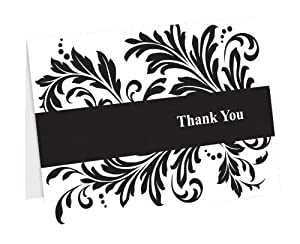 Hortense B. Hewitt Wedding Accessories Thank You Note Cards, Damask Flourish, Pack of 50