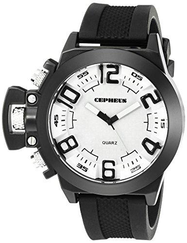 CEPHEUS CP901-682 - Reloj analógico de cuarzo para hombre con correa de silicona, color negro