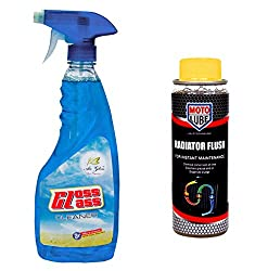 Combo of 2 Items - Auto Pearl Air Gloss Car Glass Cleaner 500 ml. & Moto Lube Radiator Flush 300 ml.