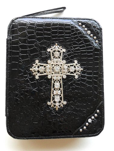 Bible Cover for Women Large Designer Black Crocodile