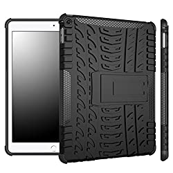 DEFENDER Hard Armor Hybrid Rubber Bumper Flip Stand Rugged Back Case Cover For APPLE iPad Air 2 - Black