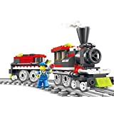 Stylish Train 136 Pcs Building Blocks Steam Engine Locomotive Train Set Comes With Railway Tracks, Station Master...