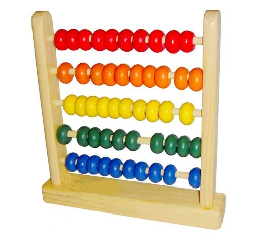 LittleTiger Miniature Wooden Abacus Counting Number Frame Maths Aid Educational Toy 50 Beads