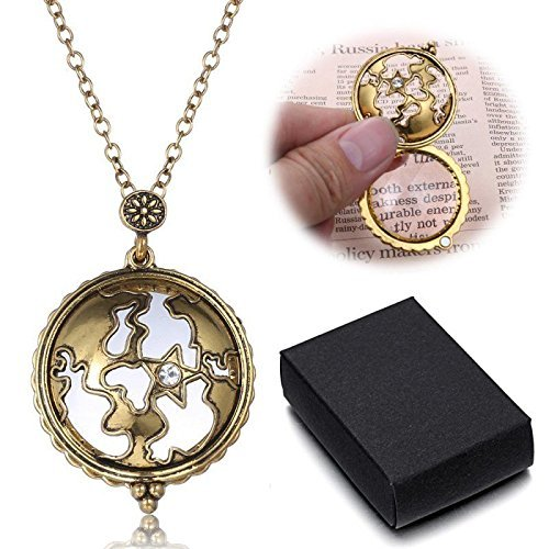GRANDMA Gift Vintage Gold Magnifying Glass Round Pendant Sweater Chain Necklace