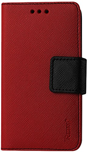 Reiko Flip Wallet Case 3-In-1 Leather Case Cover with Stand Function for Samsung Galaxy Ace - Retail Packaging - Red (Reiko Flip Wallet Case Galaxy Ace compare prices)