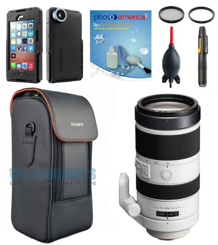 Sony Sal70400G2 70-400Mm G Ii F/4-5.6 G2 Telephoto Zoom Lens + Sony Hood + Sony Case + Hitcase Pro Waterproof Case For Iphone 5 & 5S + Filters + Lens Pen + Giotto'S Blower
