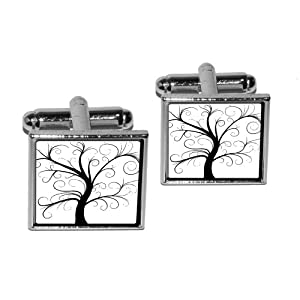 Tree of Life Square Cufflink Set - Silver