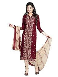 PShopee Maroon Synthetic Printed Unstitched Salwar Suit Material