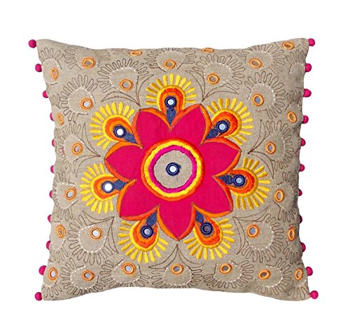 Colorful Bohemian Style Linen Pillow Cover Embroidered Moroccan Pillow Case Tribal Indian Craft Cushion Cover...