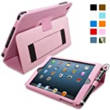 Snugg Apple iPad Mini & iPad Mini 2 Retina Leather Case in Candy Pink - Flip Stand Cover with Elastic Hand Strap, Stylus Loop and Premium Nubuck Fibre Interior - With Automatic Sleep & Wake
