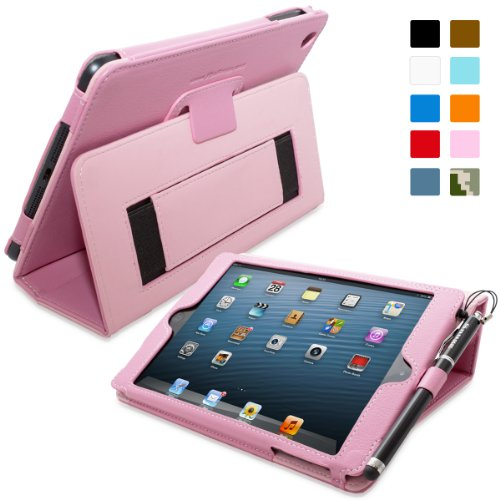 Snugg iPad Mini & iPad Mini 2 Leather Case in Candy Pink - Flip Stand Cover with Elastic Hand Strap and Premium Nubuck Fibre Interior - Automatically Wakes and Puts the Apple iPad Mini & iPad Mini 2 to Sleep