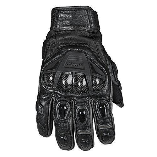 Speed and Strength Full Battle Rattle Men's Leather Street Racing Motorcycle Gloves - Black/Black / Large