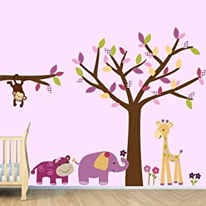 Amazon.com - Jungle Wall Decals, Baby Girl Decorations for Room ...