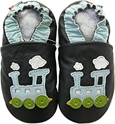 Carozoo baby boy soft sole leather infant toddler kids shoes Train Blue Black C2 4-5y