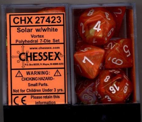 Chessex Dice: Polyhedral 7-Die Vortex Dice Set - Vortex Solar Orange Marble with White