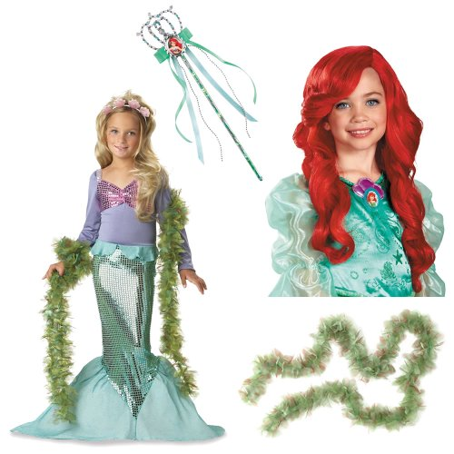 Little Mermaid Girl's Costume 3T-4T Including Seaweed Boa, Ariel Wig and Wand