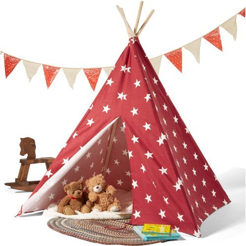 Kids Teepee Play Tent 100% cotton Canvas indoor outdoor Playhouse with Case Stars by MegaDeal bestellen