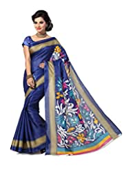 ISHIN Ethnic Bhagalpuri Silk Multicolor Printed Saree