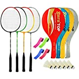 Guru PROBR09 Series-COMBO-1 Badminton Racquets Set Pack Of Four With Four Cover Six Shuttlecock & Four Hand Grip...