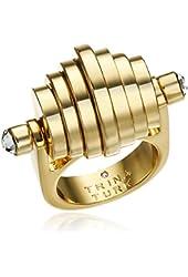 Trina Turk Retro Sport Moveable Disc Gold White Ring, Size 7