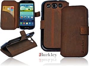 Burkley BOOK-G2-S3 Burkley Premium Leder Book Case Tasche für das Samsung Galaxy S3 i9300 i9305 maßgefertigtes Wallet Cover Etui Schutzhülle mit EC-/ Kreditkartenfach und Stand Funktion in coffee brown - bi-color