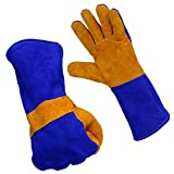 Vastar Welding Gloves, Blue and Yellow, 14-Inch, For Mig, Tig Welders, BBQ, Gardening, Camping, Stove, Fireplace and More