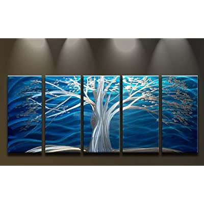 Epic Metal Wall Art Abstract Modern Contemporary Landscape Sculpture White Blue Tree