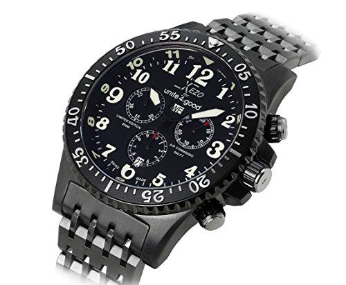 Xezo for Unite4:good Air Commando, orologio cronografo subacqueo di lusso da uomo, prodotto in Svizzera in edizione limitata, color canna di fucile, 30 ATM, con secondo fuso orario.