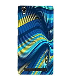 PrintVisa Wave Stripes Pattern 3D Hard Polycarbonate Designer Back Case Cover for Intex Aqua Power Plus