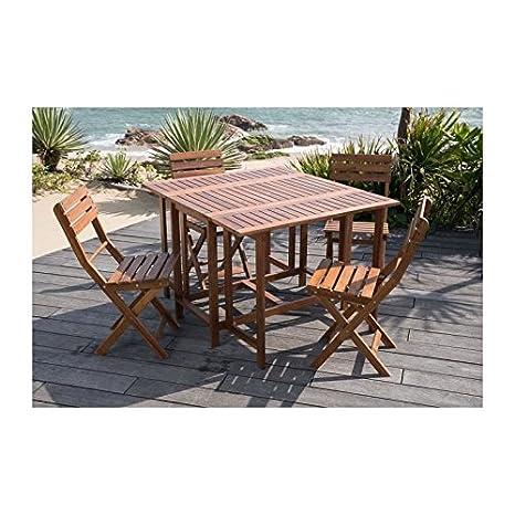 Set de table carré + 4 chaises pliantes en acacia fsc