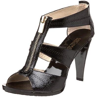 Michael Michael Kors Women's Berkley T-Strap Sandal,Black Crinkled Patent,5.5 M US