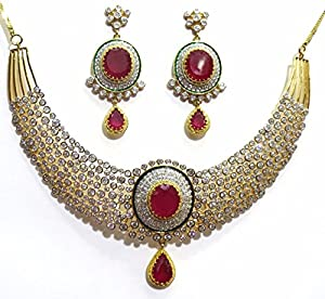 Shingar Jewellery Ksvk Jewels Latest New American diamond Ad Ruby Necklace set for women (5625-nad-a)