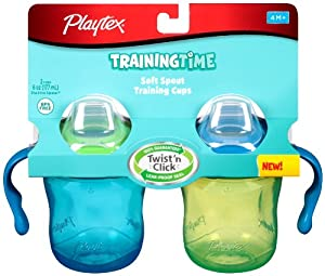 Playtex TrainingTime Soft Spout Cup, 6 Ounce, 2 Pack, Color May Vary