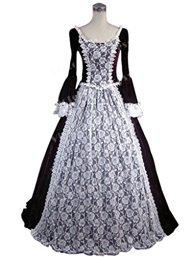 Gothic Marie Antoinette Victorian Velvet Lace Period Wine Red Dress Ball Gown