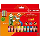 STABILO woody 3 in 1 10er Etui mit Spitzer - Multitalent-Stift (aquarellisierbarer Buntstift)