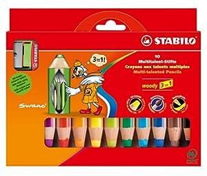 STABILO woody 3 in 1 10er Etui mit Spitzer - Multitalent-Stift (aquarellisierbarer Buntstift)