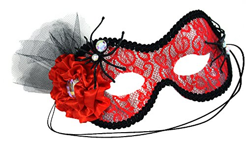 Spun Red Lace Spidery Scary Women's Masquerade Mask