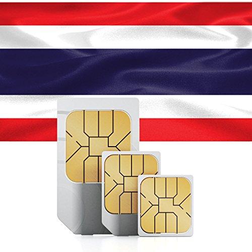 Carte Sim Thaïlande prépayée avec 2Go - 30 jours - Format triple-couple Mini, Micro & Nano SIM