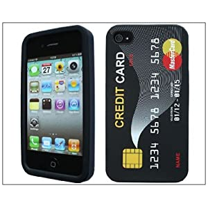 Hot Credit Card Soft Silicone Rubber Skin Case cover for Apple iPhone 4s 4 4G Black