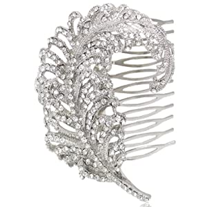 Bridal Silver-Tone Peacock Feather Austrian Crystal Clear Hair Comb N01723-1