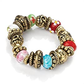 Elasticated Bead Fashion Bracelet Burnished Gold